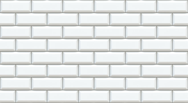 White brick wall rectangles with chamfered edge. Empty background. Vintage stonewall. Room design interior. Backdrop for cafe. High quality seamless 3d illustration.