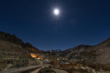 Dry cold dessert landscape of Lamayuru in Ladakh at night