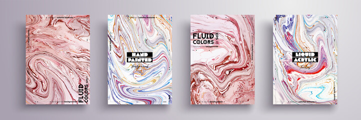 Abstract painting, can be used as a trendy background for wallpaper, poster, invitation, cover and presentation. Fluid art. Liquid marble texture with mixed of acrylic blue, white, pink paints