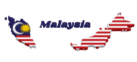 3D Map outline and flag of Malaysian in blue red white and yellow color with yellow star and white Crescent moon.