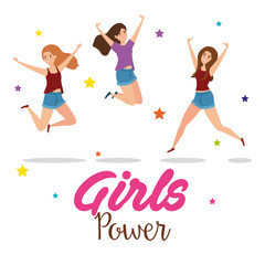 power girls jumping celebrating characters