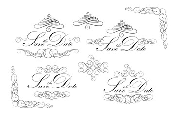 Wedding invitation design with calligraphic floral elements. Vector illustration.