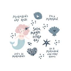 Vector sea set with mermaid, stars, seashells and lettering phrases