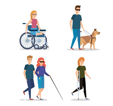 set rehabilitation people with disabled and physical injury