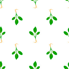 Microgreens. Sprouting seeds of a plant. Seamless pattern.