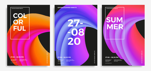 Set of trendy abstract design templates with 3d flow shapes. Dynamic gradient composition. Applicable for covers, brochures, flyers, presentations, banners. Vector illustration. Eps10