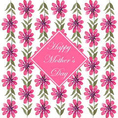 Happy mothers day floral background Painted greeting card design with pink flowers