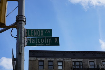 Harlem, New York, Malcom X Boulevard and Lenox Avenue street sign