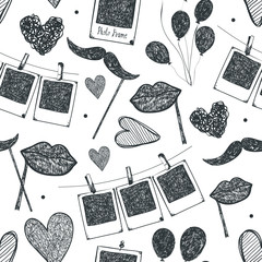 Vector hand drawn, doodle hipster seamless background, pattern. Retro camera, hearts, romance. Party background