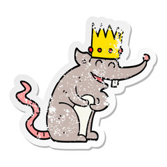 distressed sticker of a cartoon rat king laughing