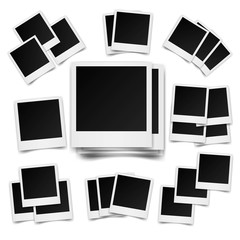 Big set of square photo frames on sticky tape,