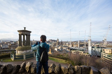 EDINBURGH, SCOTLAND - FEBRUARY 9, 2019 - Calton Hill, east of the New Town, is at the bottom of Princes Street. The views from the summit of Calton Hill are as stunning as its monuments