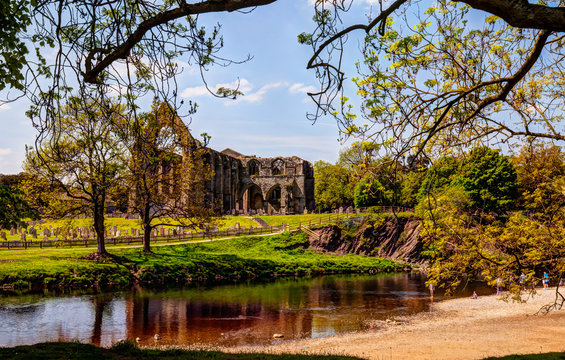 Bolton Abbey,ruin of 12 century Augustinian monastery in Yorkshire Dales,Great Britain.
