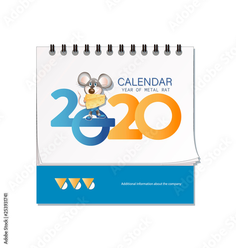 Desk Calendar 2020.Desk Calendar 2020 Mouse With Cheese The Symbol Of 2020 Colorful