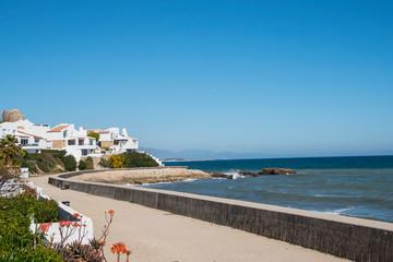 ESTEPONA, SPAIN - February 22th, 2019 - Beach. Beach view. Estepona city, Andalusia, Spain.