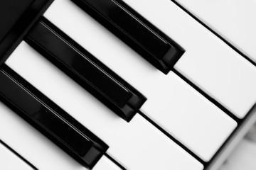 piano keys black and white image. vintage style background