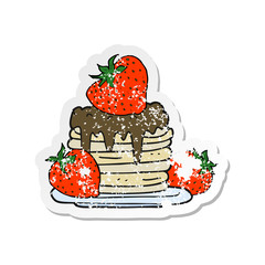 retro distressed sticker of a cartoon pancake stack with strawberries
