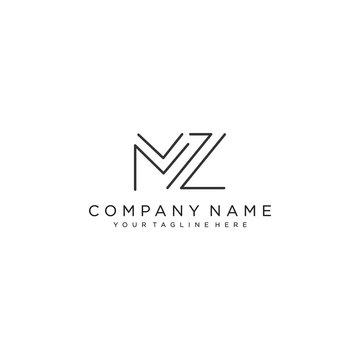 MZ Letter Logo Design Template Vector