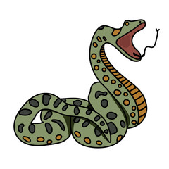The green snake anaconda prepares to attack. Flat. Vector graphics.