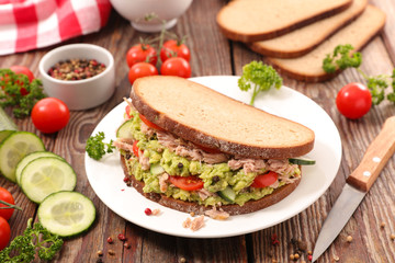 sandwich toast with avocado and tuna