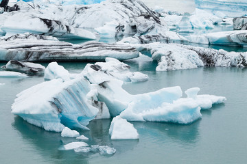 Icebergs on water, Jokulsarlon glacial lake, Iceland