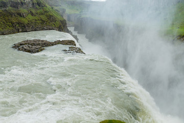 Gullfoss falls in summer season view, Iceland