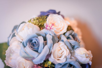 Wedding silk white and blue romantic rose flower bouquet