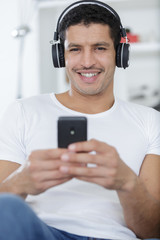 happy young man with headphones