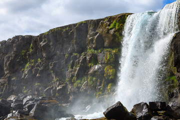 Oxararfoss waterfall summer day view, Thingvellir, Iceland