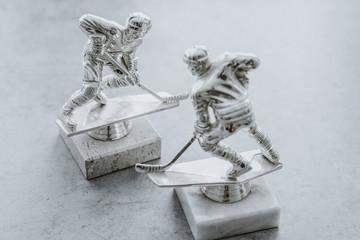 Hockey sculptures as a symbol of ice hockey. Hockey legend, competition, winner concept. Tournament reward