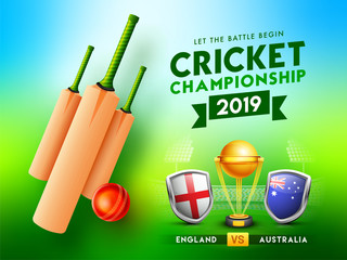 Cricket championship poster or banner design with bats, ball, champion trophy and participants team flag shield badges illustration.