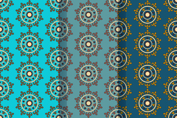 Set of three seamless patterns with abstract floral elements in retro style. Textile fabric, printing and many other areas of designs.
