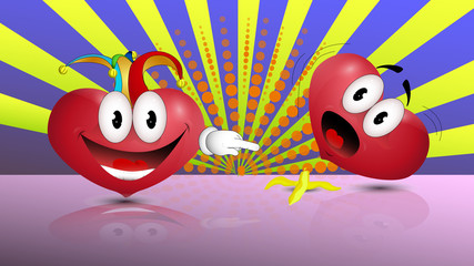 Funny heart.Heart jokers for April fools ' day.