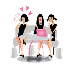 girls on vacation in a cafe, communication style, vector illustration in a flat cartoon style, comical characters about lifestyle