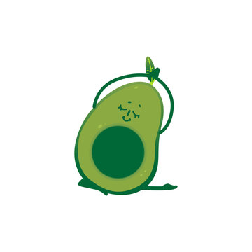 Vector flat avocado doing stretching or yoga