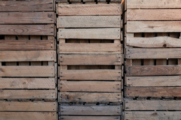 Wooden crates stacked on top of one another