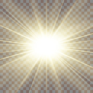 Sun rays. Starburst bright effect, isolated on transparent background. Gold light star flash. Abstract shine beams. Vibrant magic sparkle explosion. Glowing burst, lens effect. Vector illustration