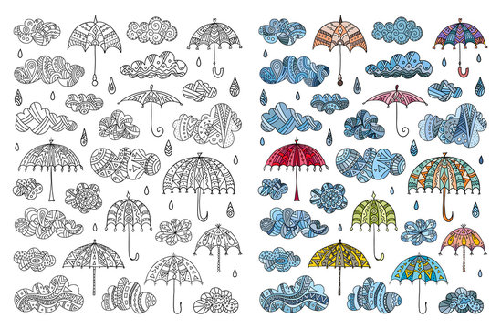 Page coloring page with hand-drawn clouds with drops and umbrellas. Vector book for decorating. Illustration on the theme of rain.