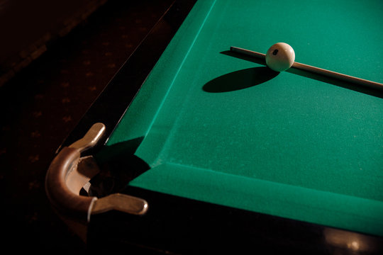 Billiard Russian green wood table and cue with white balls