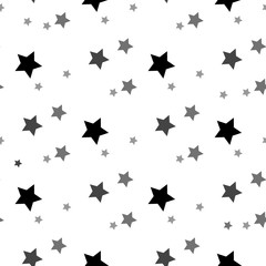 Star seamless pattern. White and grey retro background. Chaotic elements. Abstract geometric shape texture. Effect of sky. Design template for wallpaper,wrapping, textile. Vector Illustration