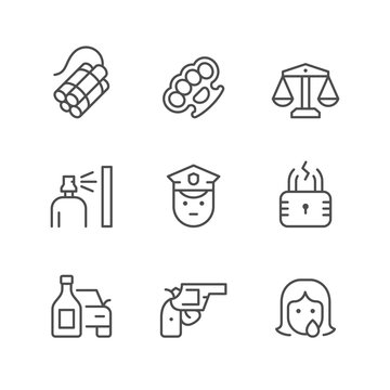 Set line icons of criminal