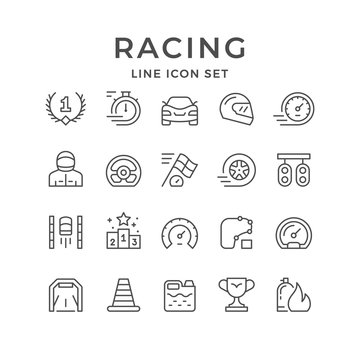 Set line icons of racing