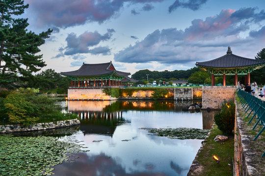 Anapji Pond at evening, Gyeongju, South Korea