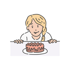 Vector redhead woman surprised by piece of cake