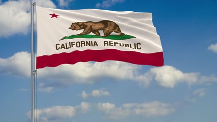 California State flag in wind against cloudy sky 3d rendering