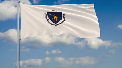 Massachusetts State flag in wind against cloudy sky 3d rendering