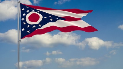 Ohio State flag in wind against cloudy sky 3d rendering