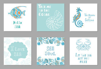 A set of cards on the marine theme. Colorful posters with sea creatures and inscriptions in ethnic style. Hand-drawn vector illustration