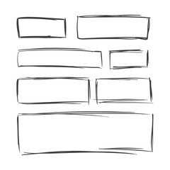 Vector collection of hand drawn rectangular frames on white background