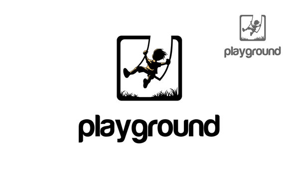 Playground Vector Logo Illustration. Iconic logo design of child silhouette sitting on swing.